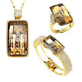 【NEOGLORY】星光璀璨 項鍊+戒指+手鐲 施華洛元素 三件組
