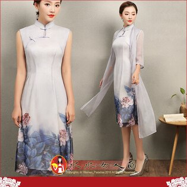 【水水女人國】~如詩如畫~驚豔。藝術極品中國風~眺香。復古印花修身兩件式改良時尚中袖外披唐裝+無袖旗袍洋裝