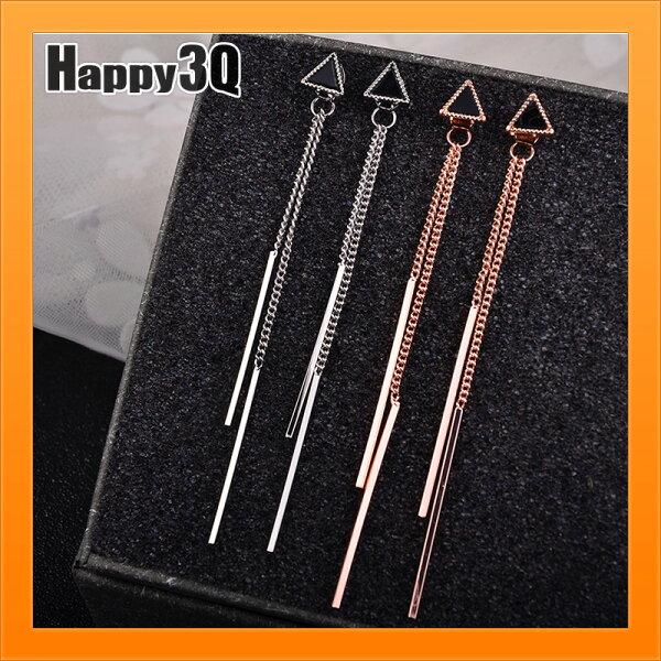 S925純銀耳環流蘇耳環耳針幾何三角耳環造型耳針簡約長款耳飾-銀粉【AAA3849】