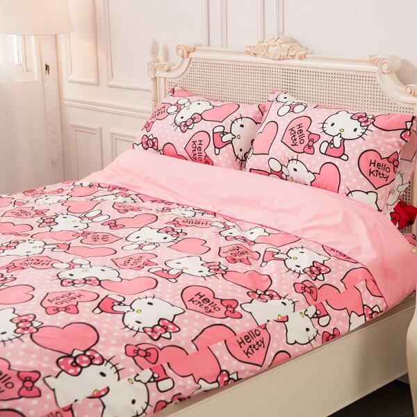 【名流寢飾家居館】HelloKitty.粉紅佳人.加大雙人床包組兩用鋪棉被套全套.全程臺灣製造
