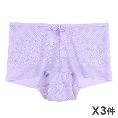3件199免運【夢蒂兒】舒適緹花無痕平口褲3件組(隨機色) - 限時優惠好康折扣
