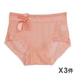 任2組$299【夢蒂兒】透氣蕾絲緞帶三角褲 3件組 (隨機色出貨)