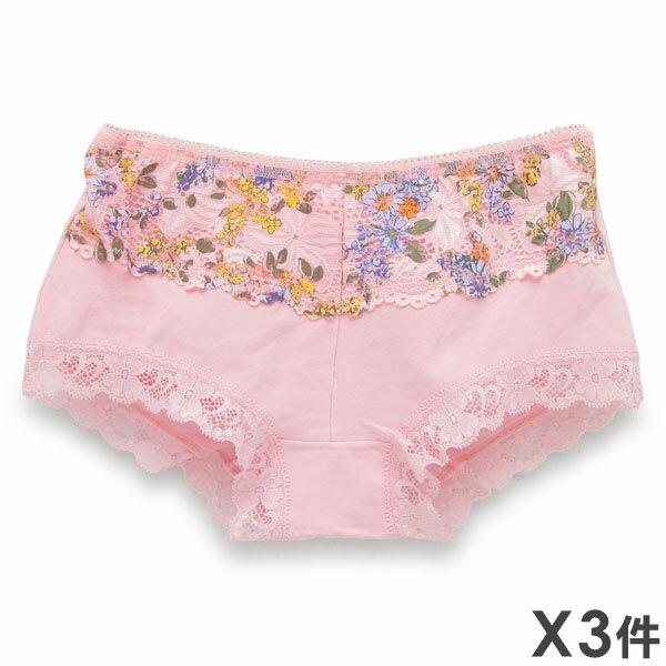 3件199免運【夢蒂兒】亮采蕾絲印花平口褲 3件組(隨機色出貨) 0