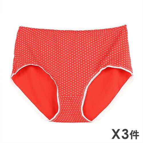 3件199免運【夢蒂兒】加大點點棉質三角褲 3件組(隨機色) - 限時優惠好康折扣