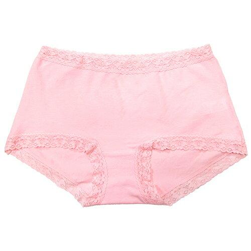 【AJM】素色棉質舒適高腰平口褲(粉) 1