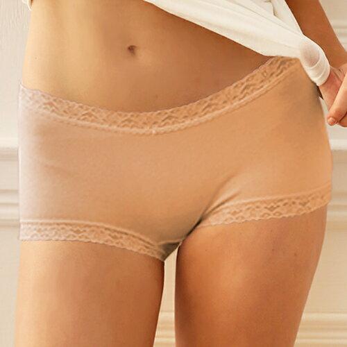 【AJM】素色棉質舒適高腰平口褲(膚) 0