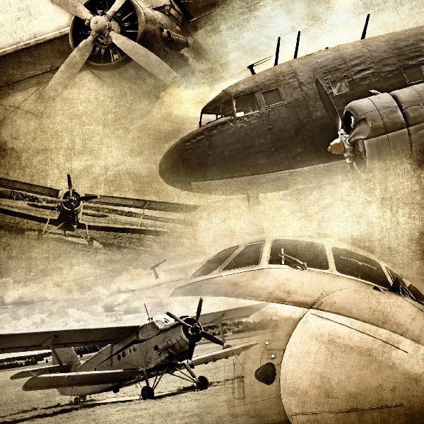 復古飛機拼圖壁畫訂製壁畫e21360