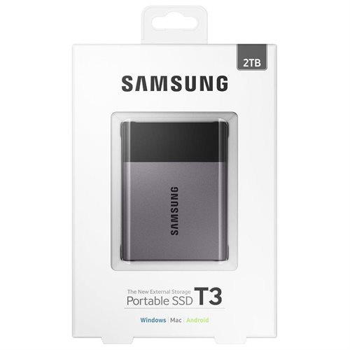 """Samsung T3 Portable 2TB SSD 2.0TB USB 3.1 External Solid State Drive MU-PT2T0B + 2.5"""" SSD case 1"""