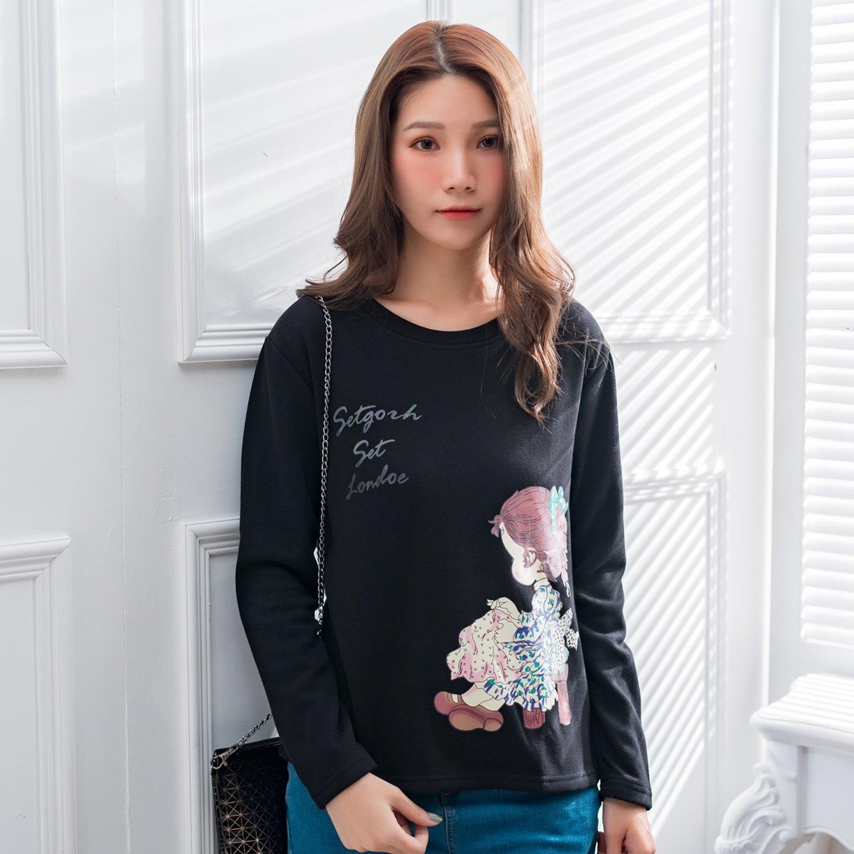 大學T--舒適可愛馬尾女孩印花寬鬆百搭複合絨保暖長袖T恤(黑.卡其L-3L)-F156眼圈熊中大尺碼 0