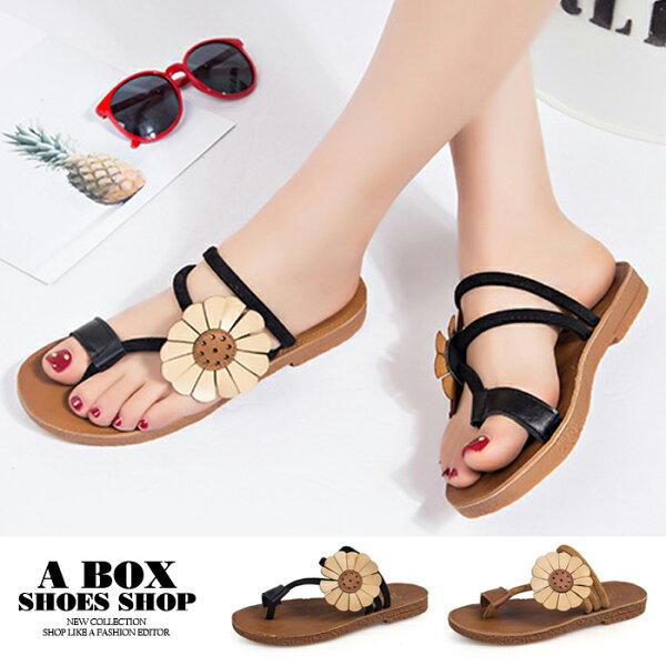 【ANA662】套指夾腳拖鞋海灘拖百搭2CM低粗跟時尚可愛花朵2色
