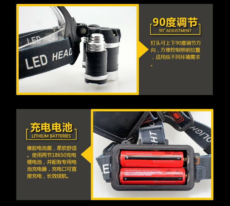 [Unifiy]  T6 3顆頭燈 強光頭頭戴式頭燈 鋰電池充電防水釣魚頭燈 探照燈 工作燈 照明燈 維修燈 6