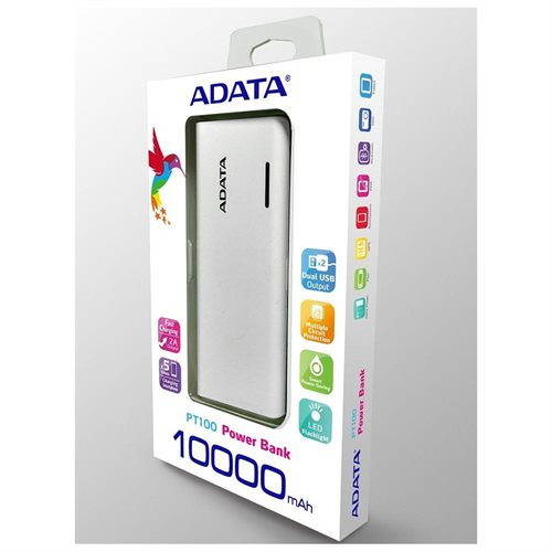 ADATA PT100 10000mAh Power Bank with LED Lighting White/Blue (APT100-10000M-5V-CWHBL) 2