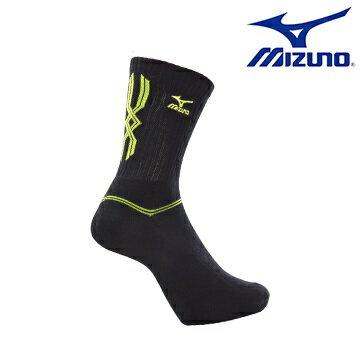 [陽光樂活] MIZUNO 美津濃 基本款男運動厚底中統襪 32TX600794 (黑X黃)