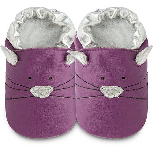 【hella 媽咪寶貝】英國 shooshoos 健康無毒真皮手工鞋/學步鞋/嬰兒鞋 紫貓咪的臉 102789(公司貨)