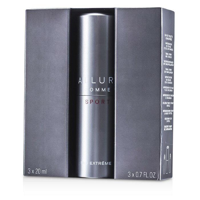 Chanel 香奈兒 香奈兒ALLURE男性運動香水 極限版 旅行裝(2個補充裝) Allure Homme Sport Eau Extreme Travel Spray  3x20ml/0.7oz
