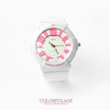 立體刻度運動浮雕防水30米手錶 兒童錶 韓系女孩帥氣矽膠腕錶 柒彩年代【NE679】單支