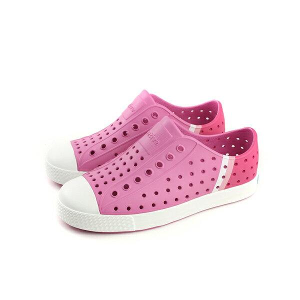 nativeJEFFERSONBLOCK懶人鞋洞洞鞋防水雨天粉紅色童鞋中童12100102-8504no702