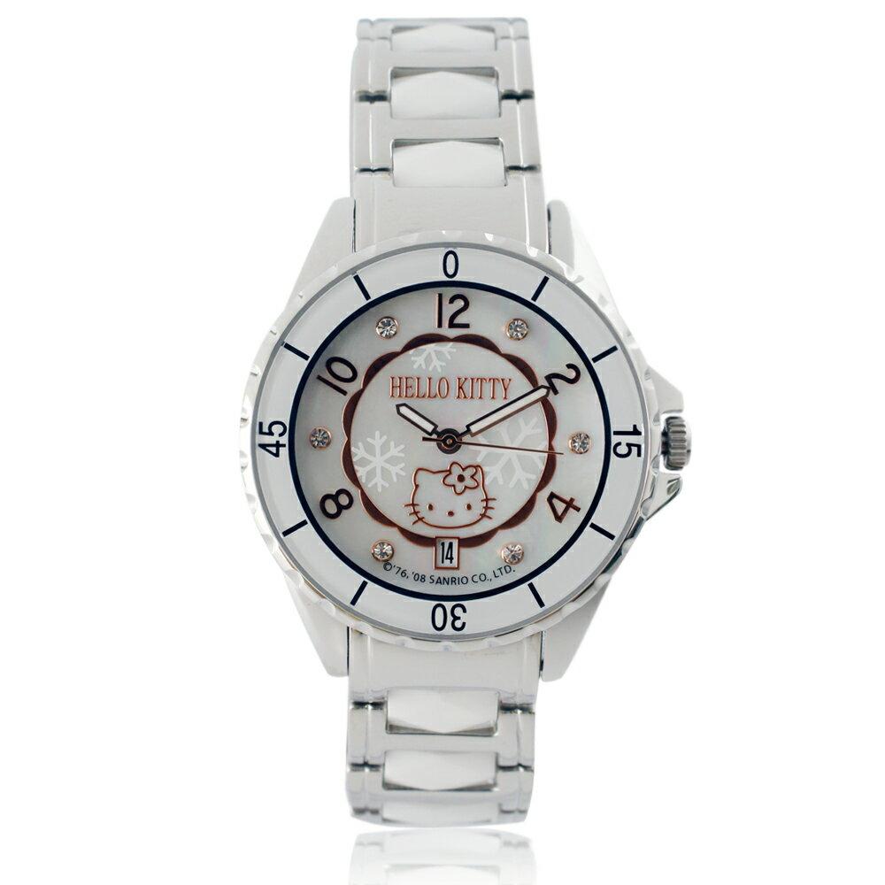 Hello Kitty LK576 三麗鷗正版授權 珍珠母貝盤晶鑽陶瓷錶 - 白色 - 限時優惠好康折扣