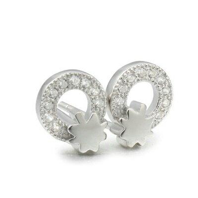 ~925純銀耳環鑲鑽耳飾~簡潔亮眼氣質 情人節 女飾品2色73dm77~ ~~米蘭 ~