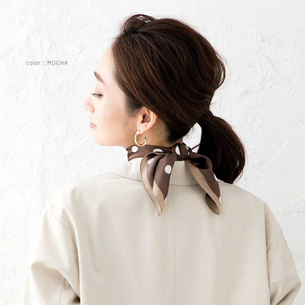 日本CREAM DOT  /  スカーフ 正方形 ファッション小物 バッグ ドット柄 くすみカラー 大人 上品 エレガント 華奢 シンプル フェミニン モカ ベージュ ブラウン ブラック  /  a03515  /  日本必買 日本樂天直送(1690) 6