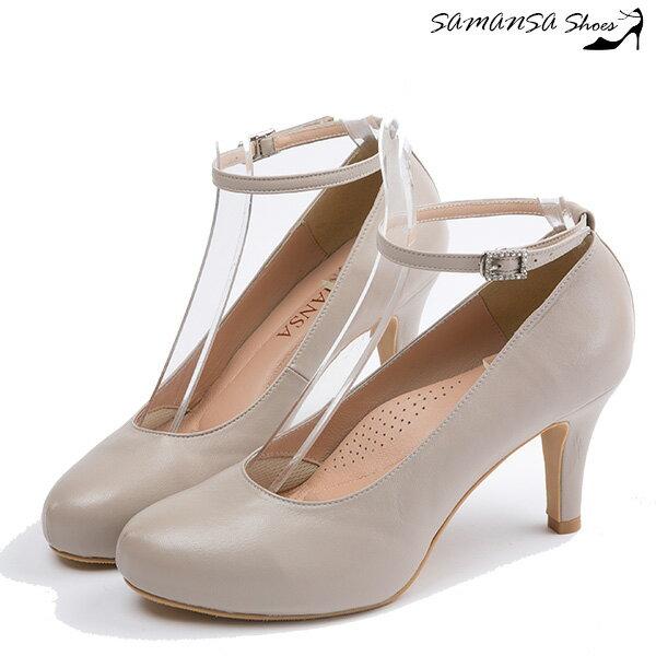 [SAMANSA] 性感顯瘦百搭內增高繫帶三穿高跟鞋 --14402優雅米