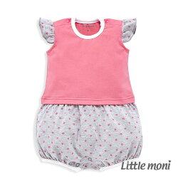 Little moni 甜美女孩拼接星星連身褲 - 熱情粉