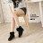 ★399免運★格子舖*【KS9391】寒冬保暖刷毛 柔軟舒適造型雪靴 反摺毛茸茸粗低跟短靴 短筒靴 2色 0