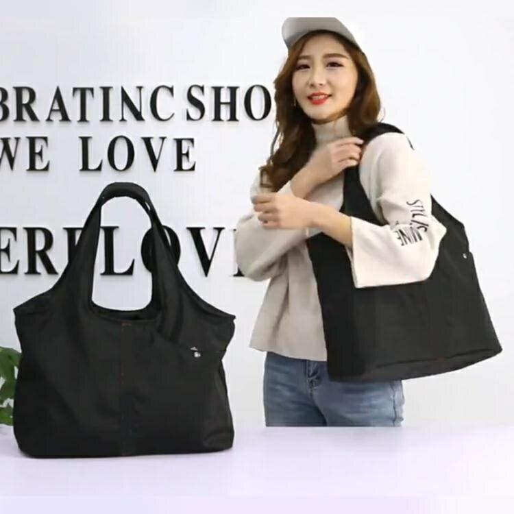 防水尼龍側背帆布包女大包包2021新款簡約大容量牛津布時尚手提包  釦子小鋪
