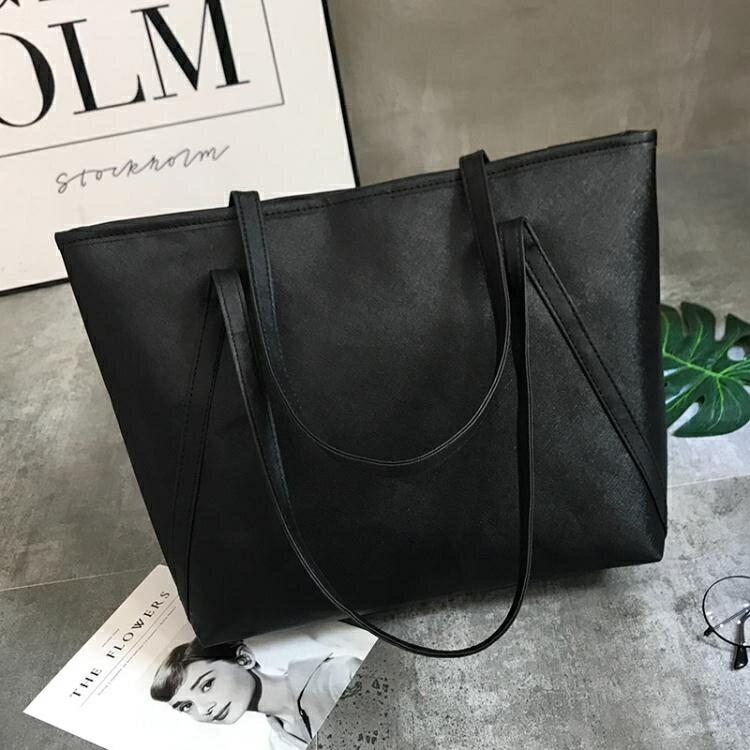 大包包女2021新款潮托特包學生簡約百搭大容量韓版休閒側背手提包  釦子小鋪