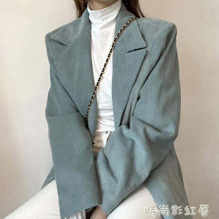 韓國chic鬼馬少女冬季簡約翻領復古燈芯絨兩粒扣夾棉長袖西裝外套 釦子小鋪