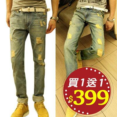 Free Shop~QTJBK03~買一送一^(送皮帶^) 日韓系顯瘦修身窄版水洗刷色破壞