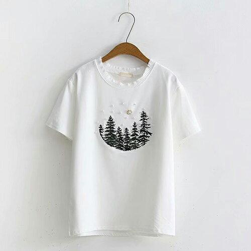 刺繡釘珠寬鬆套頭圓領短袖T恤(4色F碼)【OREAD】 1