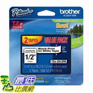 [106美國直購] 膠帶 Brother TZE2312PK 1/2-inch Standard Laminated P-Touch Tape, Black on White 26.2 Feet (2