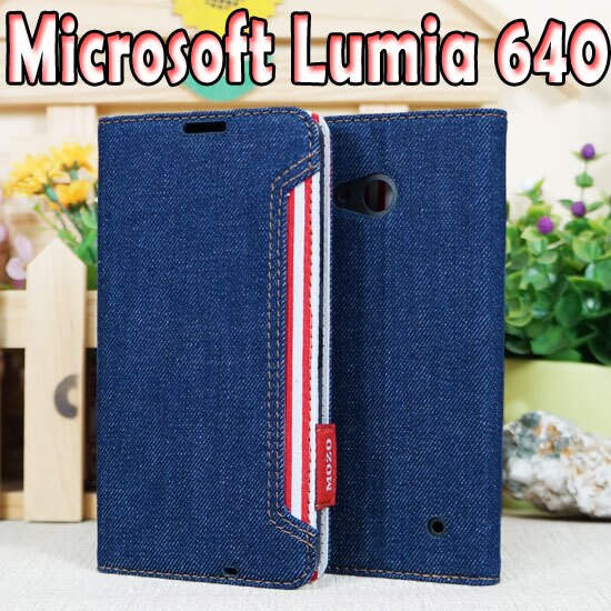 【牛仔紋】微軟 Microsoft Lumia 640/RM-1072 LTE 5吋 硬殼側掀皮套/個性牛仔丹寧風保護套/側開插卡手機套/立架展示斜立保護殼/零錢包