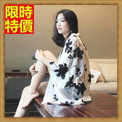 和服外套 和風女罩衫-白底黑花刺繡雪紡防曬小外套4色68af4【日本進口】【米蘭精品】