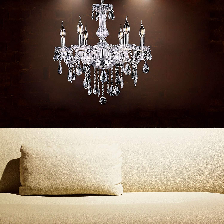 European Classic Vintage Crystal Candle Chandeliers Lighting 6 Lights  Pendant Ceiling Fixture Lamp For Elegant Decoration