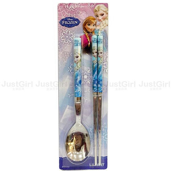 迪士尼 冰雪奇緣 艾莎安娜 湯匙 扁筷子 LILFANT 304不鏽鋼餐具組 餐具 韓國製造進口 JustGirl