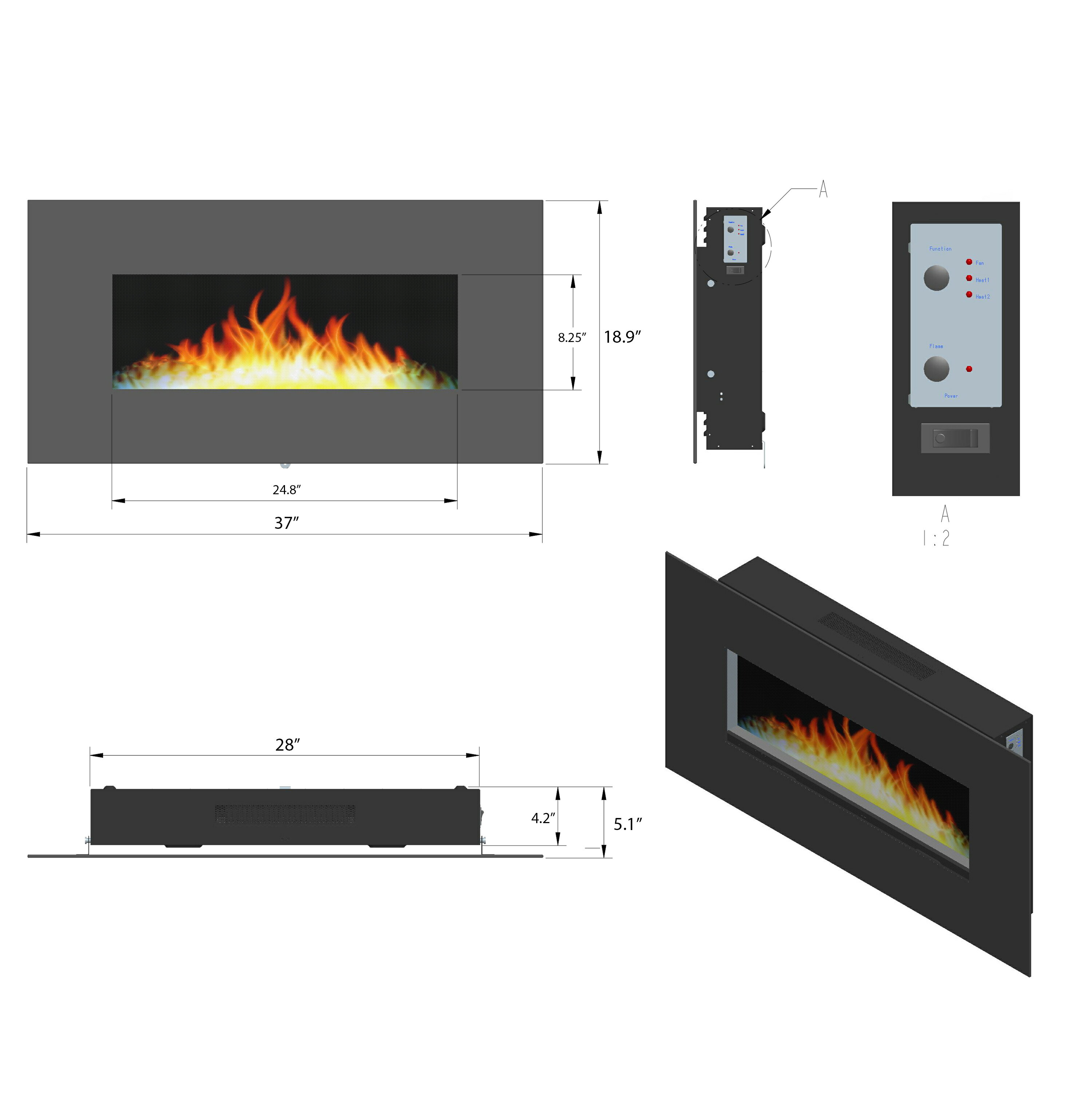 "AKDY 37"" Wall Mount Pebbles Bed Electric Fireplace Heater w/ Remote Control 1"