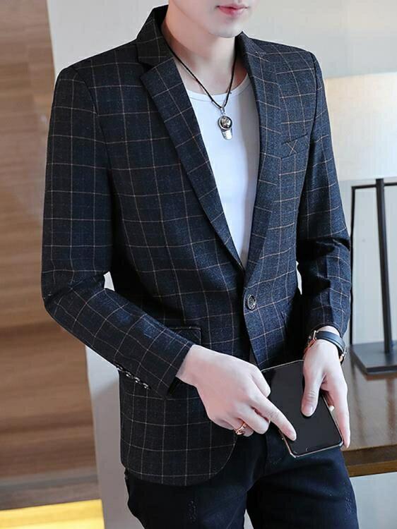 男士小西裝韓版修身上衣帥氣休閒格子單西服套裝潮流春秋正裝外套