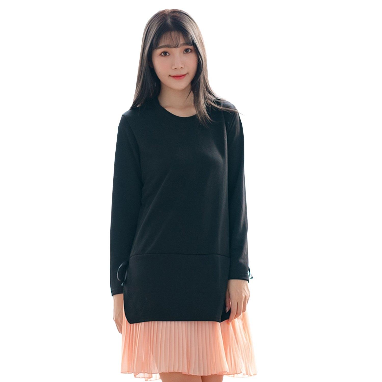 氣質洋裝--優雅針織拼接雪紡百褶裙蝴蝶結寬鬆圓領長袖連衣裙(黑L-3L)-A359眼圈熊中大尺碼 0