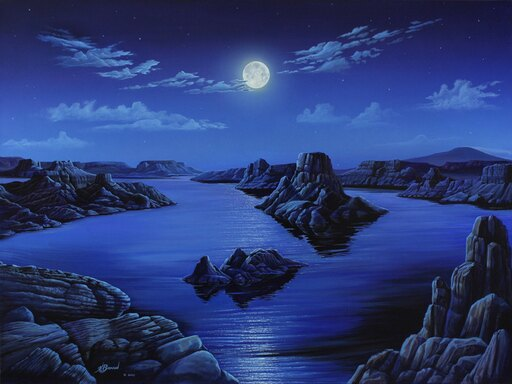 Blue Moon Vista Poster Print by Kurt Burmann (32 x 24) 3347e17b48d90ac904f89f8a7e9cd920
