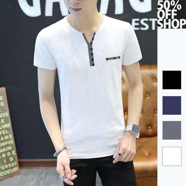 50%OFFSHOP胸前小布標排扣短袖圓領T恤【SS-N037421C】