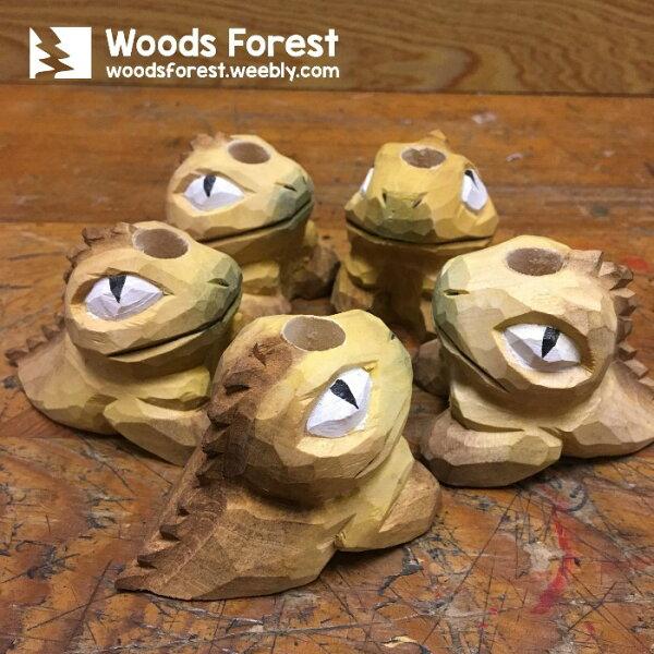 木雕森林 Woods Forest - 木雕筆專用單孔筆座【Q版小恐龍】(WF-H14)