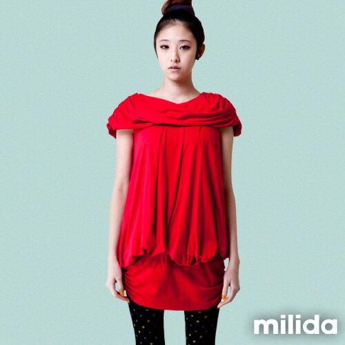 【Milida,全店七折免運】-夏季商品-氣質款-一字領洋裝 0