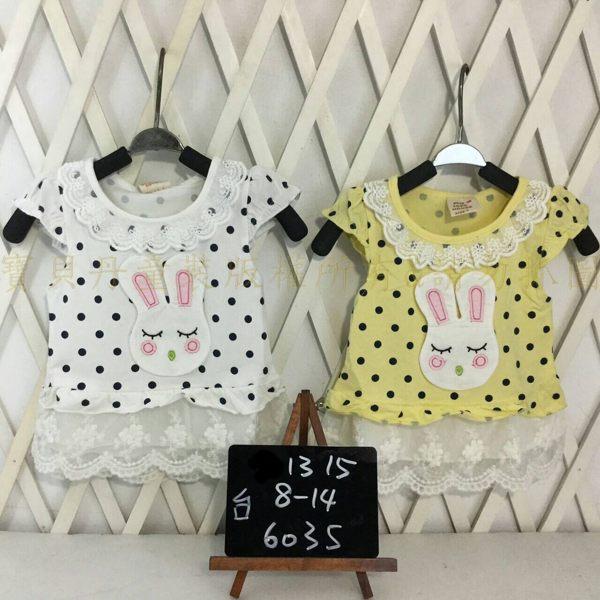 ☆╮寶貝丹童裝╭☆ 台灣製造 淑女 可愛 點點 兔子 蕾絲 圖案 女童 經典款 洋裝 新款 現貨 ☆