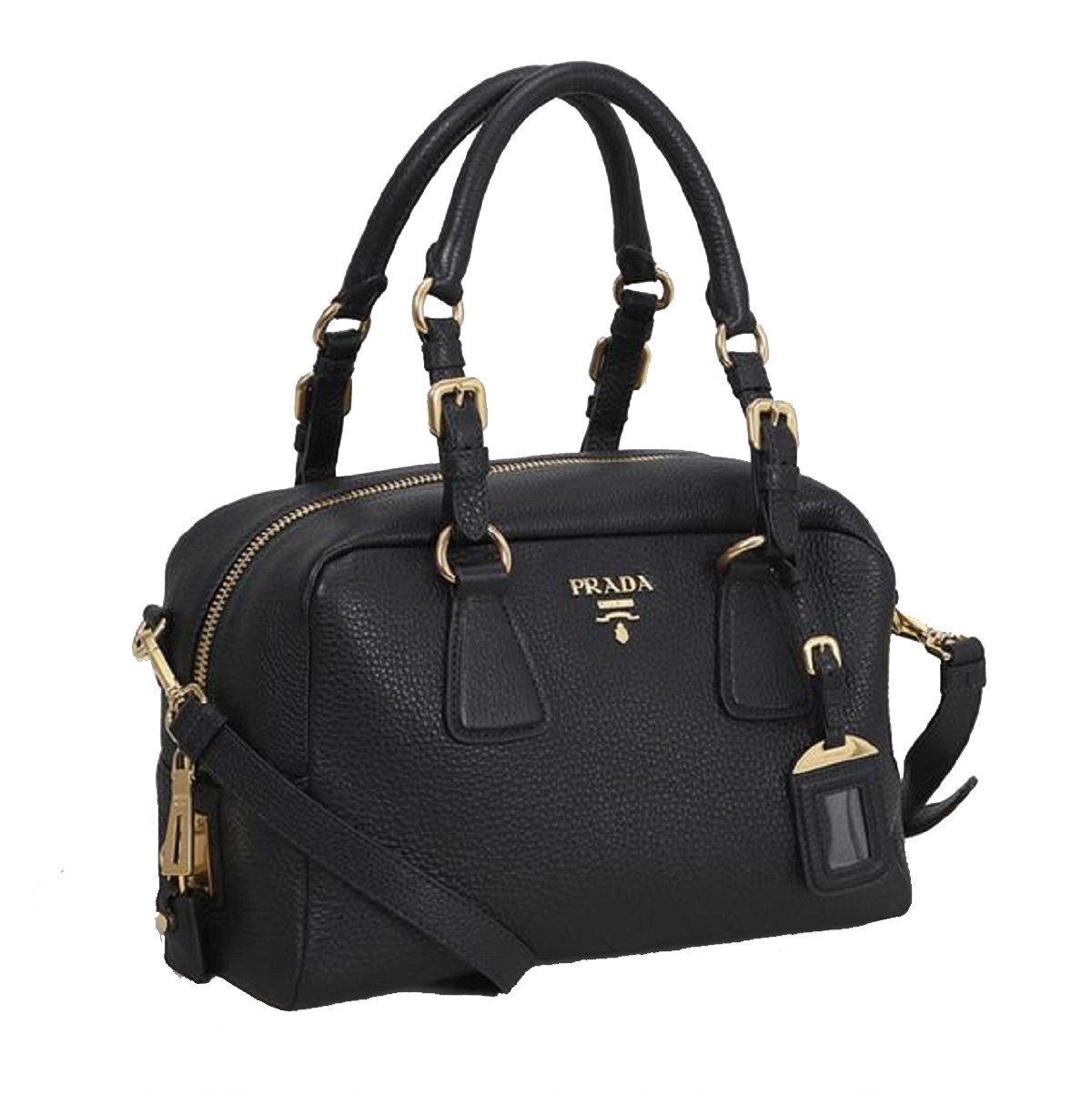 0a33a0be9b5d Prada 1BB091 Vitello Daino Nero Black Top Handle Bag Convertible Shoulder  Bag Satchel 0
