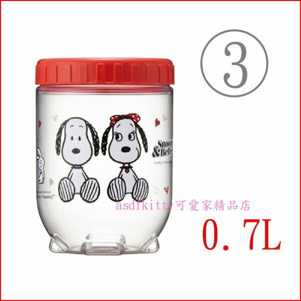 asdfkitty可愛家~SNOOPY史努比樂扣環扣型密封罐 收納罐~3號~700ML~韓