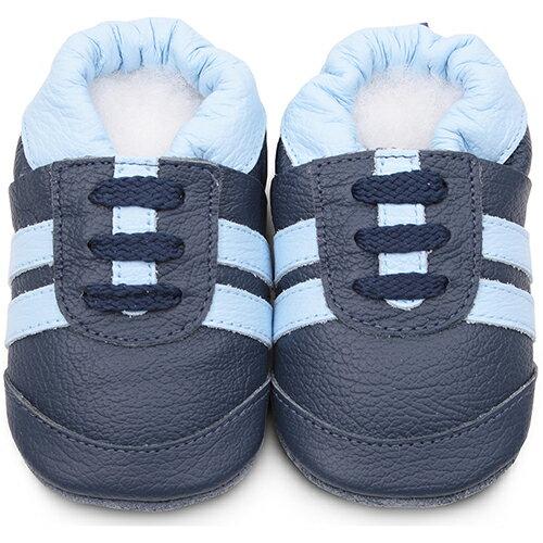 【hella 媽咪寶貝】 英國 shooshoos 安全無毒真皮手工鞋/學步鞋/嬰兒鞋_海軍藍/湛藍鞋帶運動型 _101071 (公司貨)