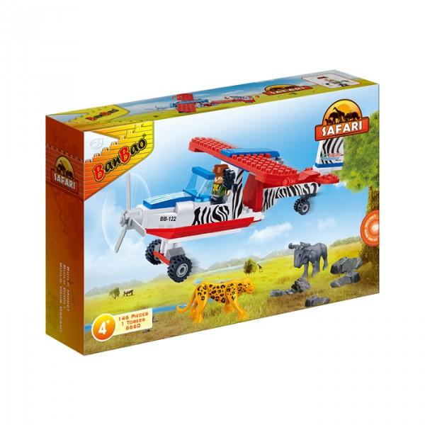 【BanBao 積木】野生動物園系列-巡察飛機 6660  (樂高通用) (單筆訂單購買再加送積木拆解器一個)