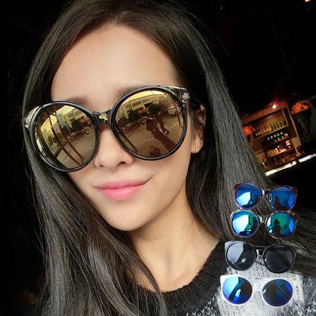 送眼鏡盒 機場時尚 炫彩鏡面反光透明圓框墨鏡 鋸齒邊圓形大框 經典百搭【N200629】